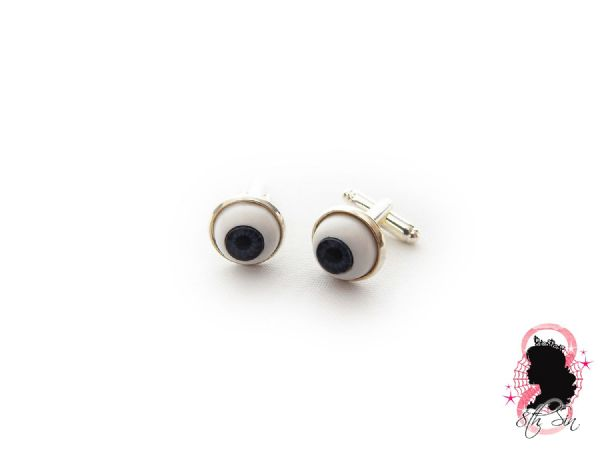 Antique Silver Eyeball Cuff Links